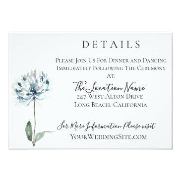 Small Dusty Blue Botanical Wedding Details Invitation Front View