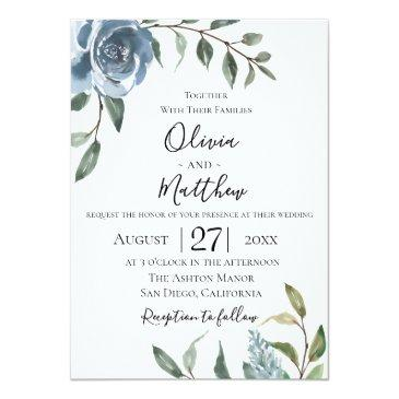 Small Dusty Blue Botanical Wedding Invitation Front View