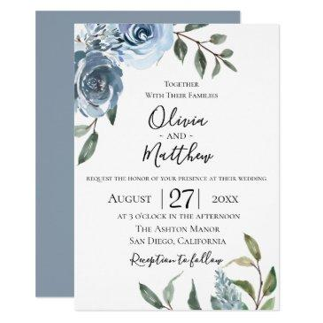 dusty blue botanical wedding invitation
