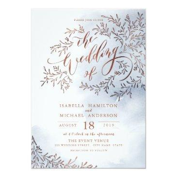 Small Dusty Blue Calligraphy Rustic Floral Wedding Invitationss Front View