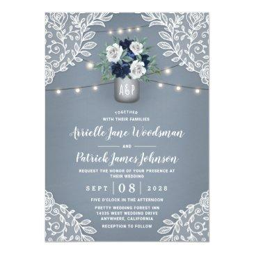 Small Dusty Blue Country White Lace Mason Jar Wedding Invitation Front View