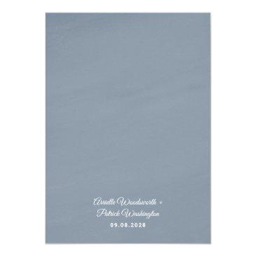 Small Dusty Blue Gold Blush Pink Peach Floral Wedding Invitation Back View