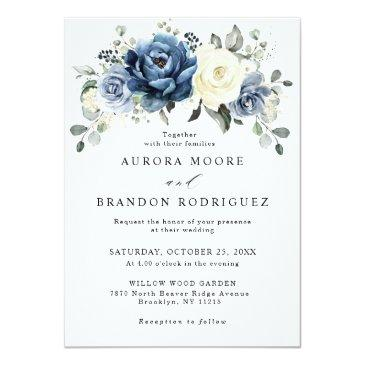 Small Dusty Blue Navy Champagne Ivory Floral Wedding Invitation Front View