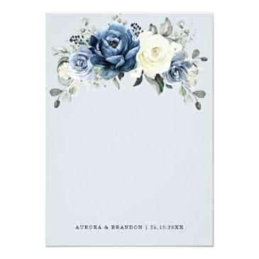 Small Dusty Blue Navy Champagne Ivory Floral Wedding Invitation Back View