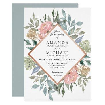 dusty pink blue green rustic wild floral wedding invitations