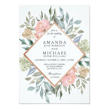 Small Dusty Pink Blue Green Rustic Wild Floral Wedding Invitation Front View