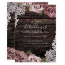 dusty pink floral roses rustic wood & lace wedding