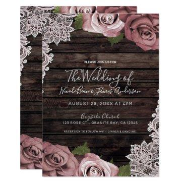dusty pink floral roses rustic wood & lace wedding invitation