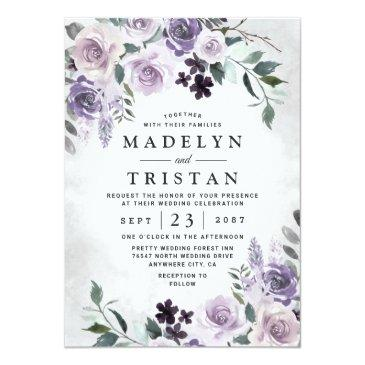 Small Dusty Purple And Silver Gray Floral Rustic Wedding Invitation Front View