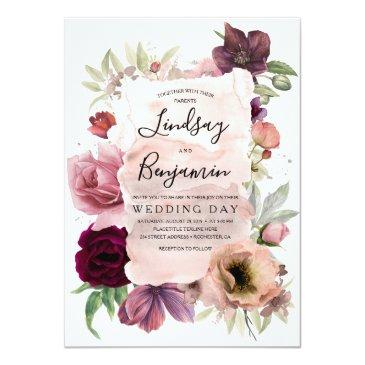 Small Dusty Rose And Burgundy Floral Vintage Wedding Invitation Front View