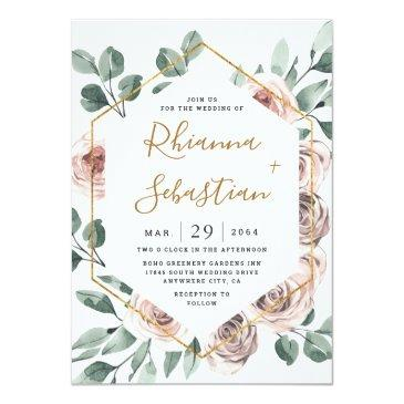 Small Dusty Rose Pink Mauve Gold Greenery Floral Wedding Invitation Front View