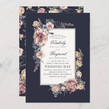 earthy dusty rose and navy blue floral wedding invitation