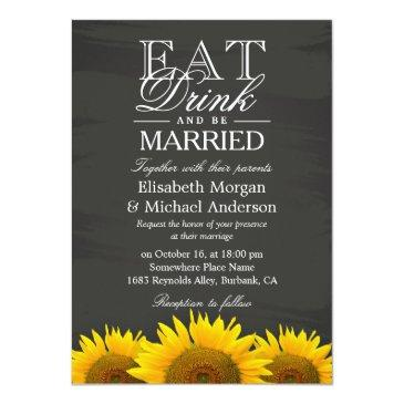 Small Eat Drink And Be Married Chalkboard Sunflowers Front View