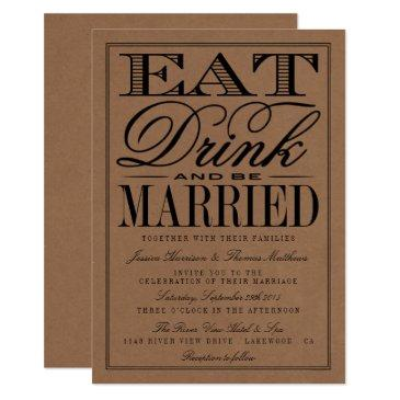 eat, drink & be married rustic kraft wedding