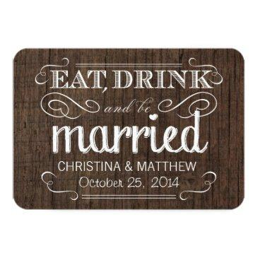 eat drink be married rustic wood rounded rsvp