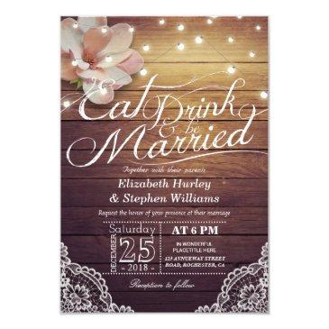 eat drink & be married wedding floral rustic wood invitations