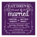eat drink be married wedding invites - eggplant