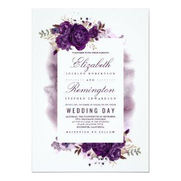 Small Eggplant Purple Floral Elegant Watercolor Wedding Invitationss Front View