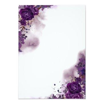 Small Eggplant Purple Floral Elegant Watercolor Wedding Invitationss Back View