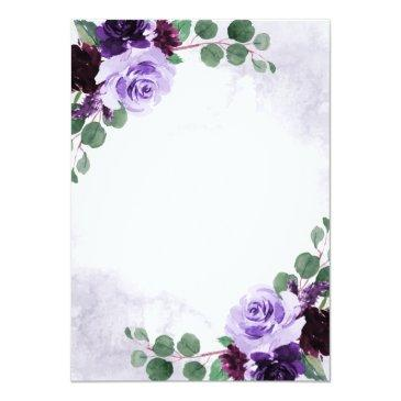 Small Elegant Airy Boho Floral Purple And Silver Wedding Invitation Back View