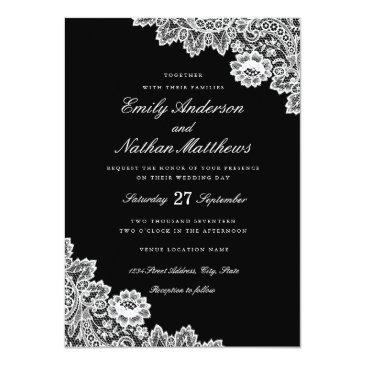 Small Elegant Black And White Lace Wedding Invitations Front View
