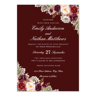 Small Elegant Burgundy Floral Lace Wedding Front View