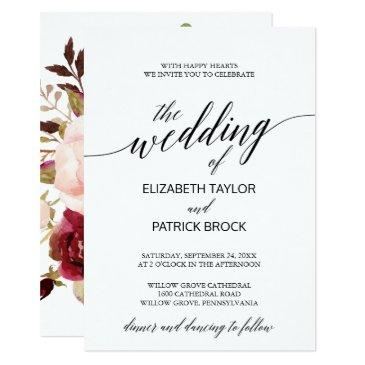 elegant calligraphy with floral backing wedding