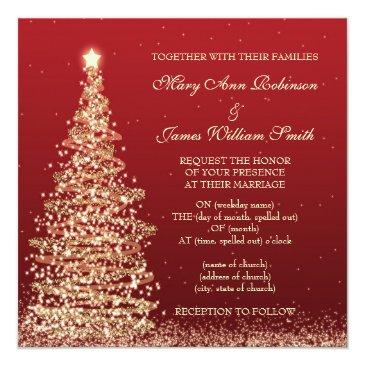 Small Elegant Christmas Wedding Red Invitation Front View