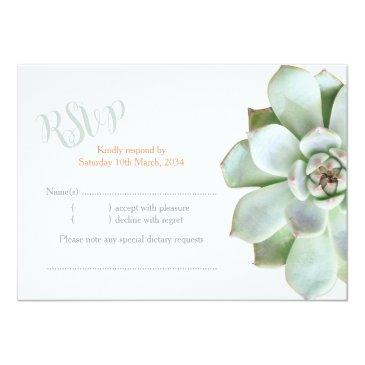 Small Elegant Country Succulent Wedding Rsvp Invitationss Front View