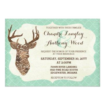 Small Elegant Deer Antlers Rustic Country Wedding Invitation Front View