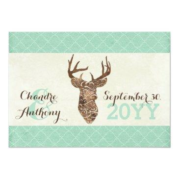 Small Elegant Deer Antlers Rustic Country Wedding Back View