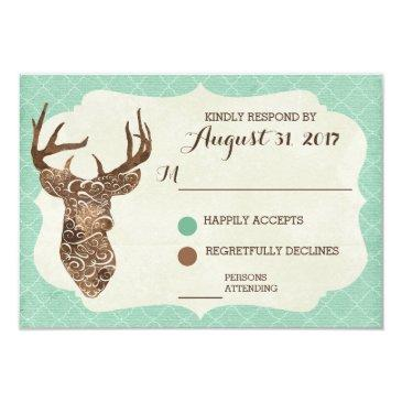 elegant deer antlers rustic country wedding rsvp
