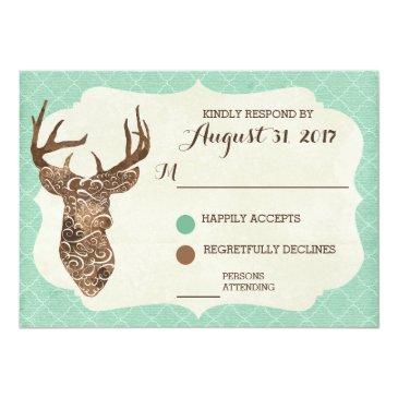 Small Elegant Deer Antlers Rustic Country Wedding Rsvp Front View