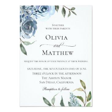 elegant dusty blue botanical wedding invitation