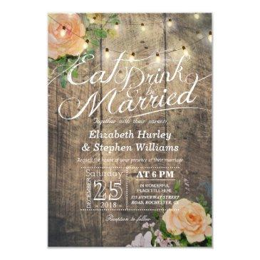elegant eat drink & be married wedding invitationss