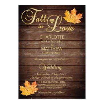 elegant fall in love rustic wood wedding invitation