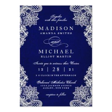 Small Elegant Floral Lace Modern Wedding Invitation Front View