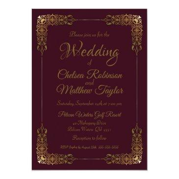 Small Elegant Gold And Burgundy Lace Wedding Invitation Front View