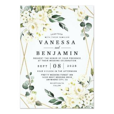 Small Elegant Gold Geometric Floral Greenery Wedding Invitation Front View
