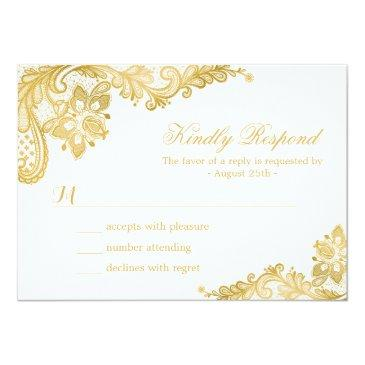 Small Elegant Gold Lace Wedding Rsvp Invitation Front View
