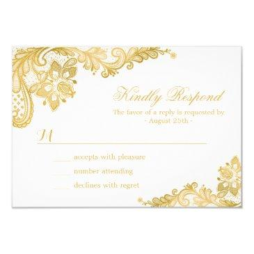 elegant gold lace wedding rsvp