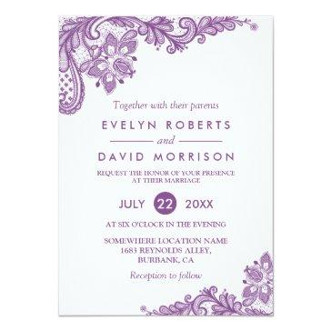 Small Elegant Lace Lavender Purple White Formal Wedding Invitationss Front View