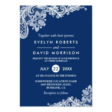 Small Elegant Lace Navy Blue White Formal Wedding Invitation Front View