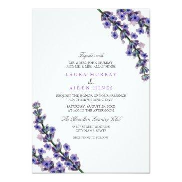 Small Elegant Lavender Wedding Invitation Front View