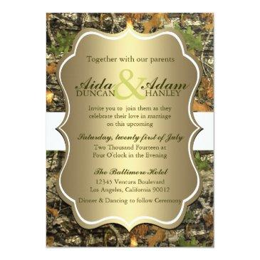 elegant lavish gold rustic camo wedding