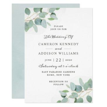 elegant modern eucalyptus wedding invitation