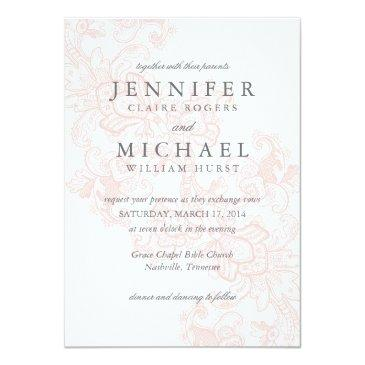 Small Elegant Pink Lace Wedding Invitations Front View
