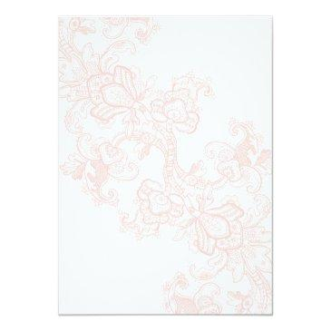 Small Elegant Pink Lace Wedding Invitations Back View