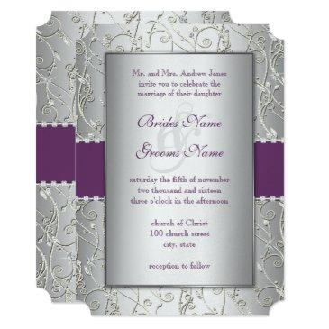 elegant plum silver swirl wedding