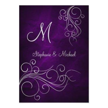 elegant purple silver monogram wedding